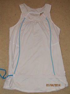 LULULEMON Gray Turquoise Yoga Fitness Top Racerback Drawstring Loose Layer M L