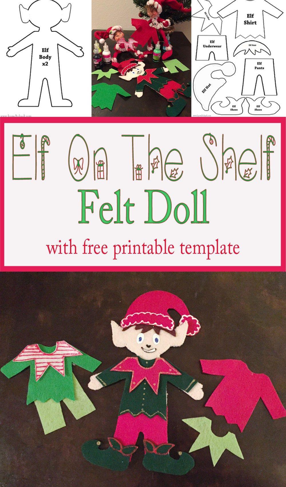 graphic about Free Printable Elf Pattern named Felt Elf upon the Shelf Doll Xmas Felt xmas