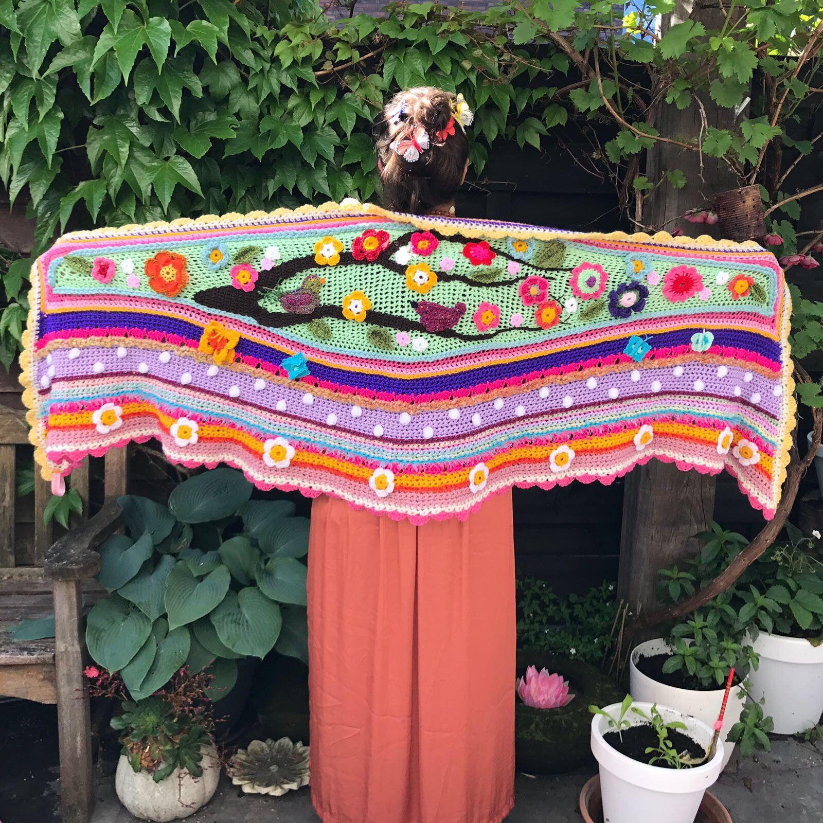 Crochet shawl stole wrap scarf polleviewrap pollevie ibizastyle boho ...