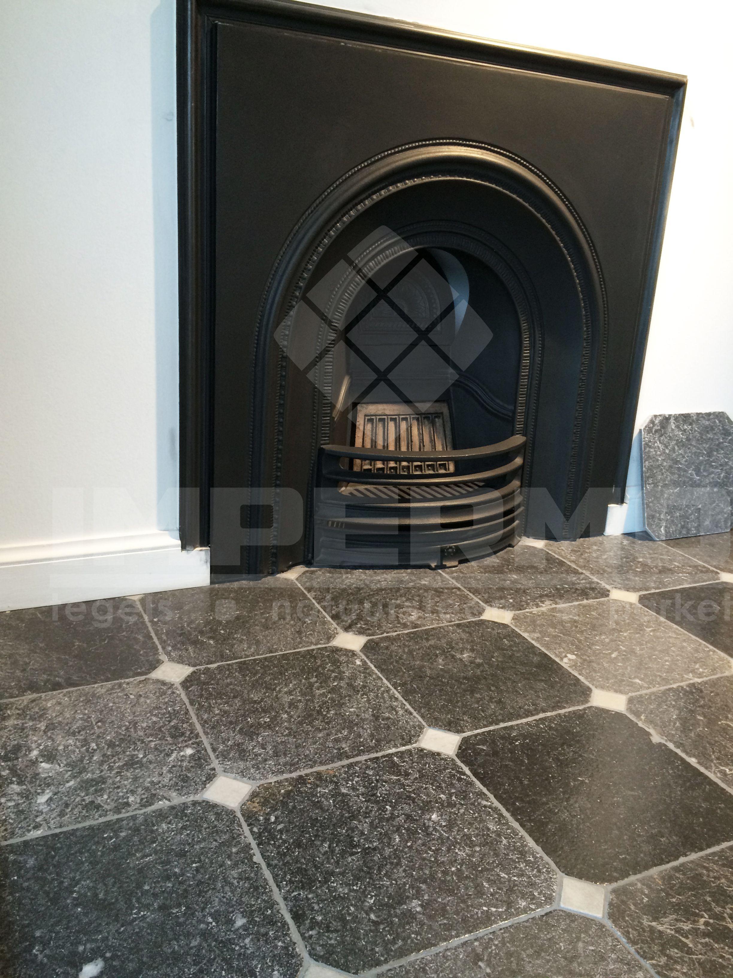 impermo keukentegels : Flanders Octagon Corner Marmer Marble White Black Zwart Wit