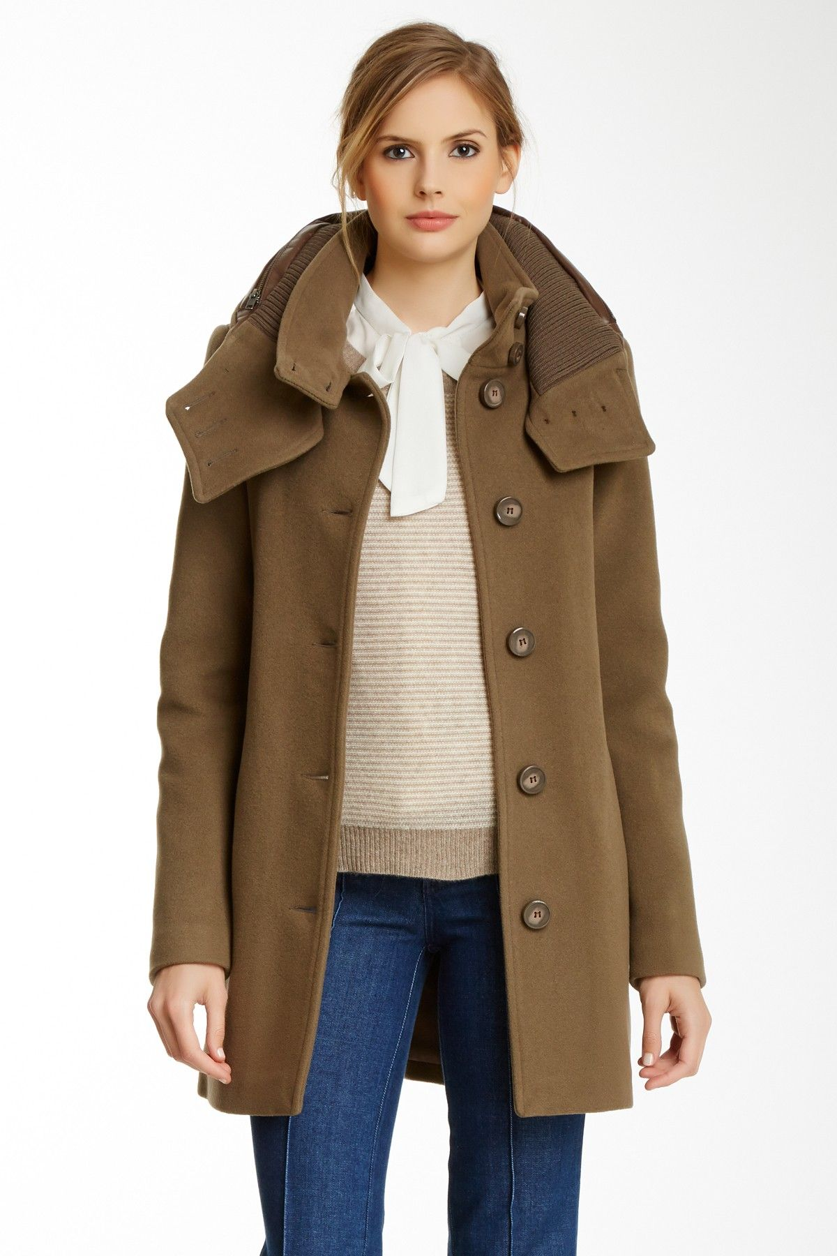 6a599a367335 Mackage   Edda Wool Blend Coat with Leather Detail   Layering, Coats ...