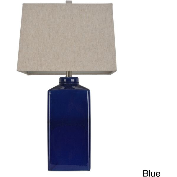 J Hunt And Company 26.5 Inch Square Ceramic Table Lamp (Blue Finish)  Featuring Polyvore, Home, Lighting, Table Lamps, Blue, Light Bulb Shades,  Ceramic Lamp, ...
