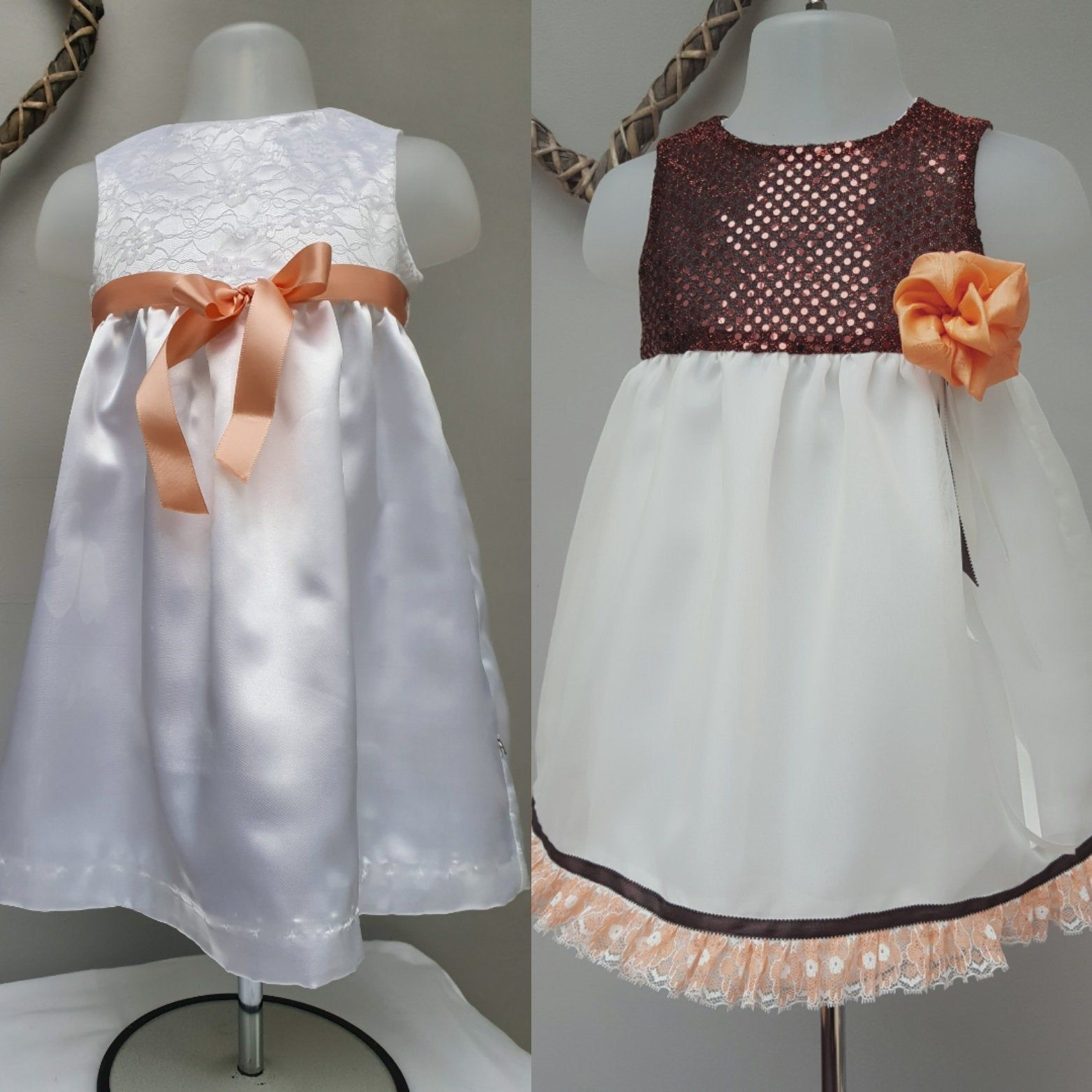 Baby Girl Special Occasion Satin and Lace Dresses. White Flower Girl, Birthday Party Dresses.