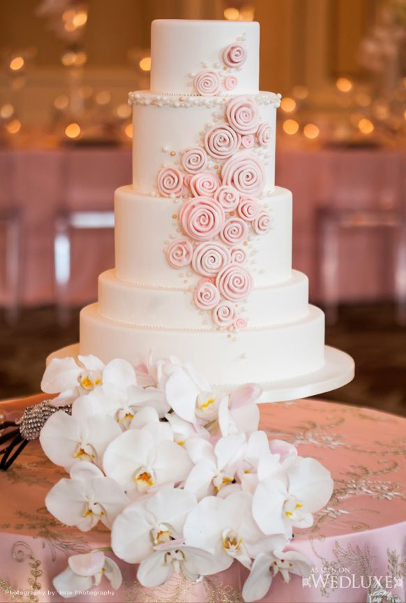 Beautiful Cake Pictures Pretty Pastel Pink Swirls On Tiered Wedding