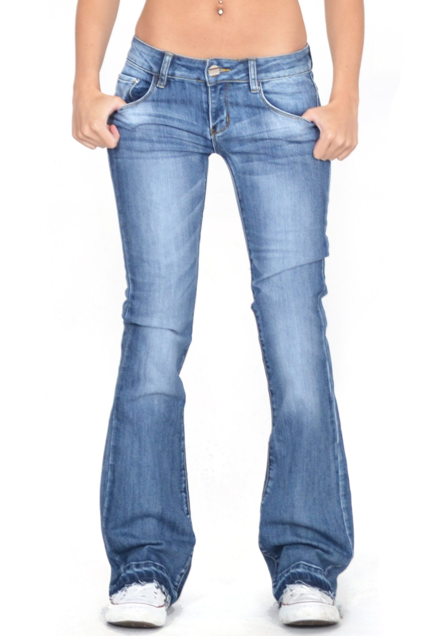 4c5010a7700 H Women's Faded Flared Hipster Bootcut Stretch Jeans with Frayed Leg Ends -  Blue (US 12 / UK14)
