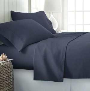 3-Piece Microfiber Twin XL Bed Sheet Set in Navy