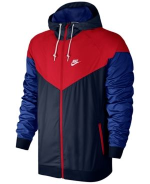 Nike Men s Windrunner Colorblocked Jacket - Blue 2XL  8744dc5a3