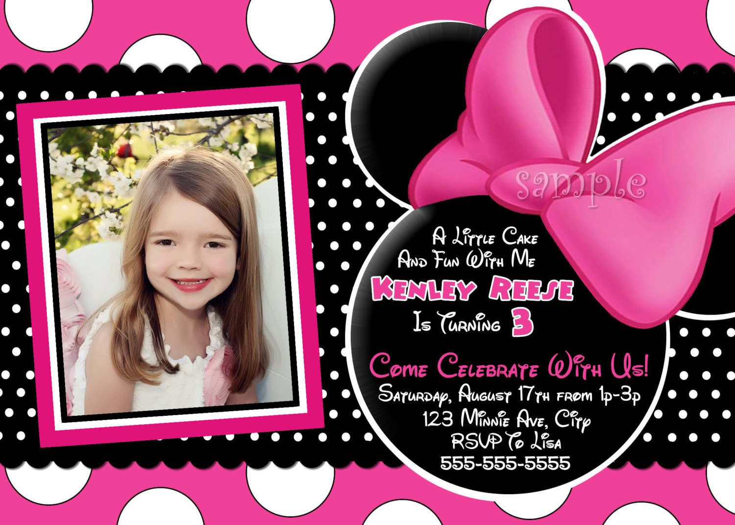 Free Printable Baby Minnie Mouse Birthday Invitations First