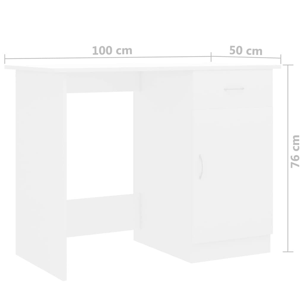 vidaXL Desk White 100x50x76 cm Chipboard