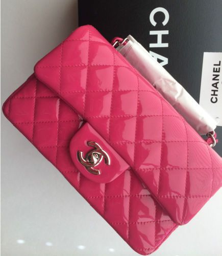 827037c4bdd5 NEW CHANEL FUSCHIA 14S PATENT MINI WSH CLASSIC FLAP BAG HOT PINK ~SOLD OUT!