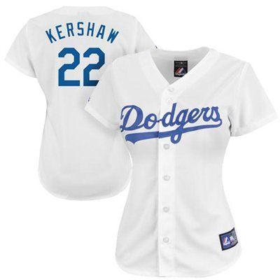 Clayton Kershaw L.A. Dodgers Women s  22 Majestic Replica Jersey - White 89ec14da7f6