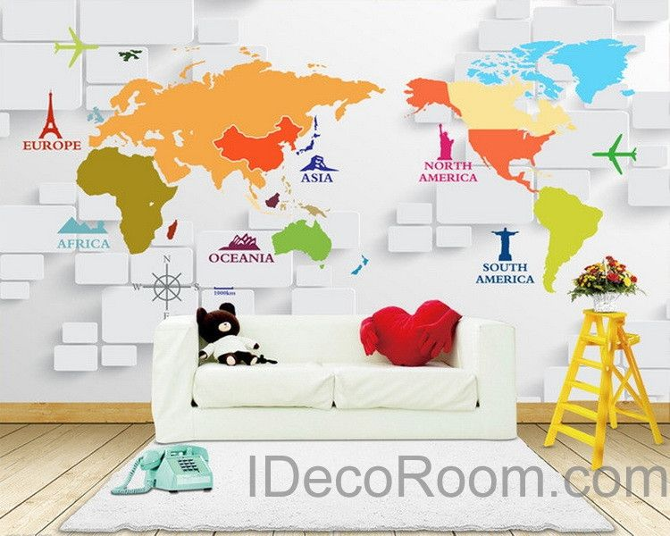 D Abstract World Map Sign Wallpaper Wall Decals Wall Art Print - Map wall mural decal