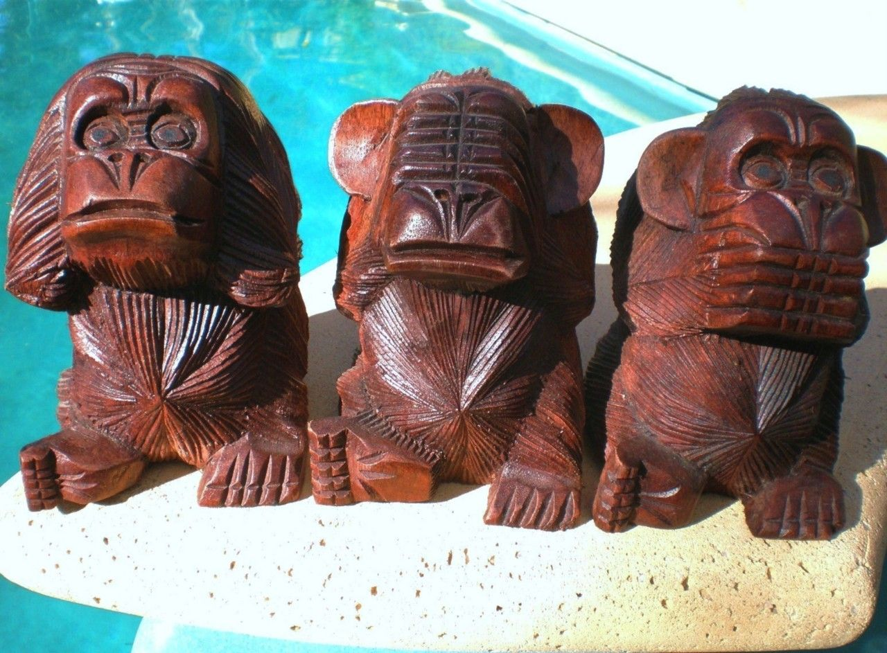 Three wise monkeys wooden ornaments - 3 Wise Monkeys See Hear Speak No Evil Wood Carved Statue Bali Carving Balinese