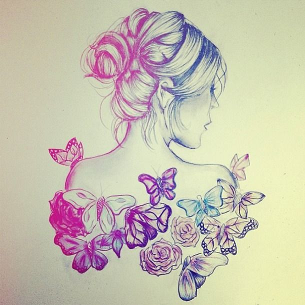 Beautiful butterfly drawing flower