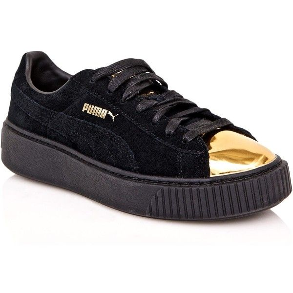 black and gold puma trainers