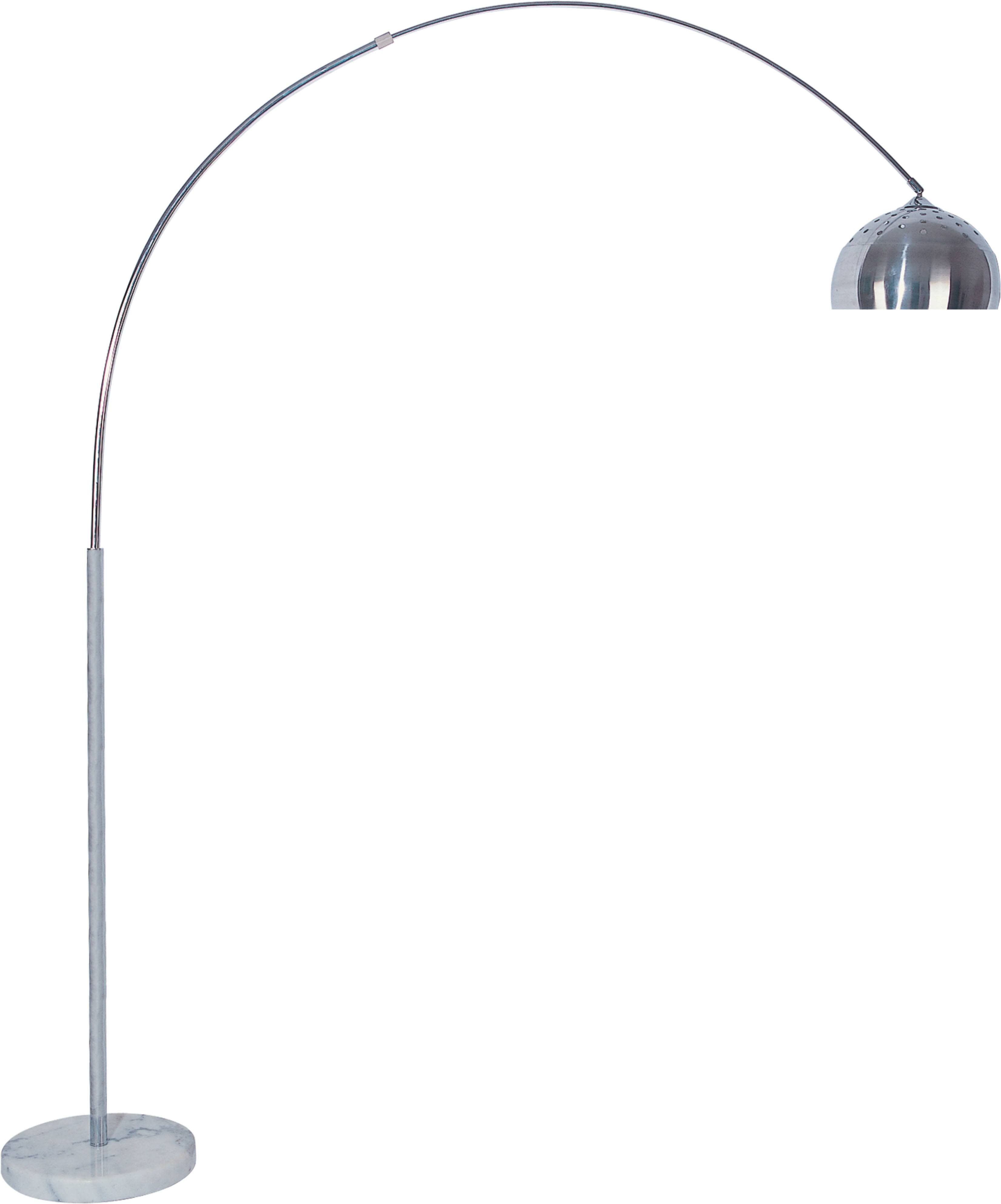 Silver Metal Arched Floor Lamp with Marble Base | Arched