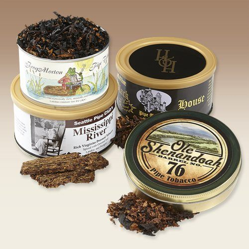 For our Blue Ribbon Sampler, we looked at some of our best-selling tinned pipe tobaccos, and put together a package that will let you save on some hot-moving items. You'll get a tin of Ole Shenandoah Barrel No. 76, an easy-smoking, lightly-sweet blend that has a great room note, a tin of the Seattle Pipe Club's Mississippi River, with its unique sweet and tangy flavor in a crumble cake form, a tin of Frog Morton, one of McClelland's most popular Latakia blends, and a tin of our own Hearth…