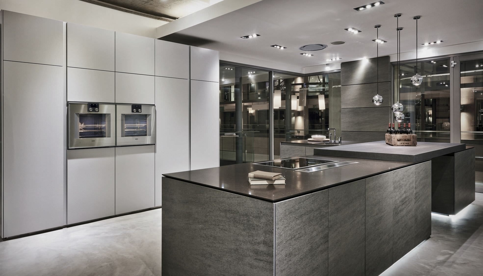 Luxury kitchen showroom project grey pinterest for Luxury kitchen layout