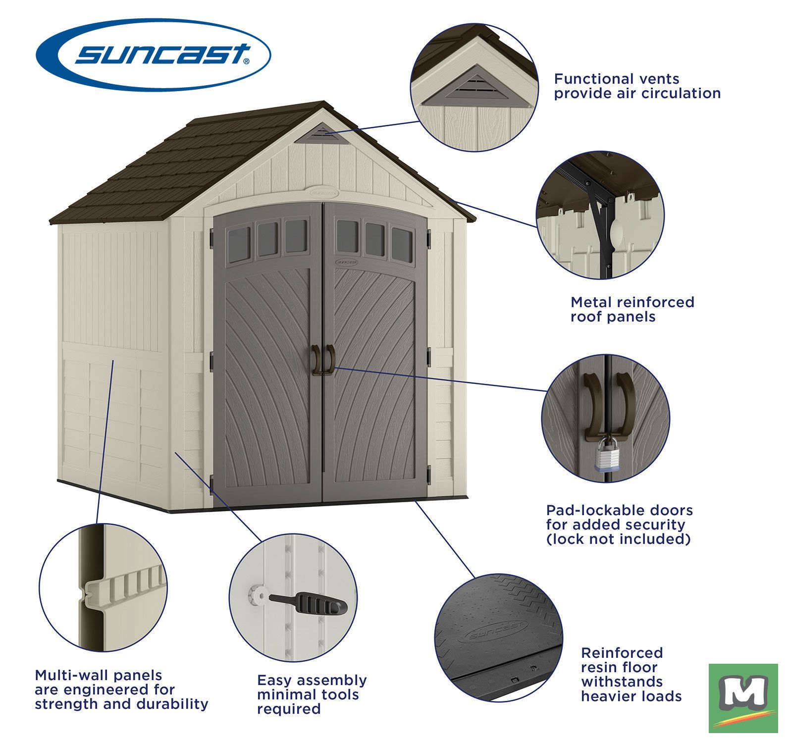 This Suncast 7x7 Covington Storage Shed Is Made Of Durable
