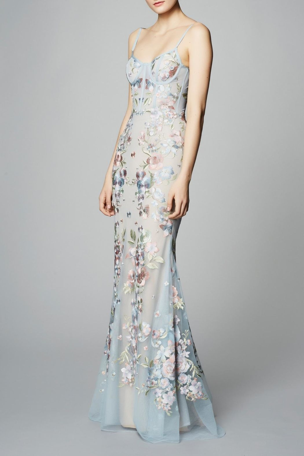 Notte by marchesa embroidered tulle gown blue nontraditional