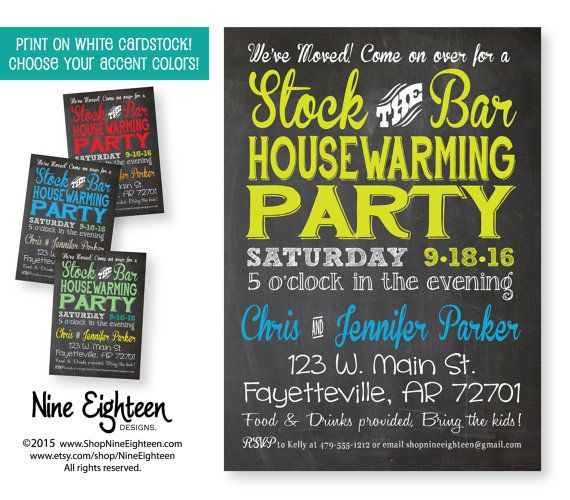 Stock The Bar Housewarming Party Invitation.Custom By NineEighteen Custom  Designed Party Invitation By Nine Eighteen Designs. I Design And You Print  On ...