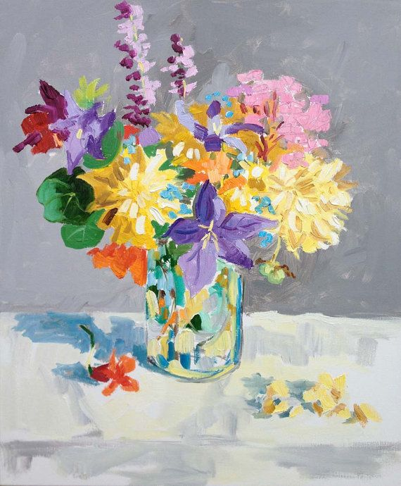 wild flower bouquet painting 20x24 by permanentmagenta on Etsy ...