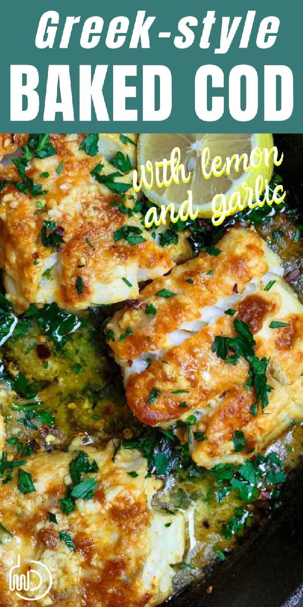 BEST Baked cod I've ever tried! You'll love the bold Greek flavors. #fish #cod #greekfood #greekrecipes #seafood