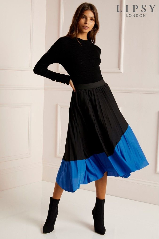 cf3ec98fd Womens Lipsy Colourblock Pleated Skirt - Black | Products in 2019 ...