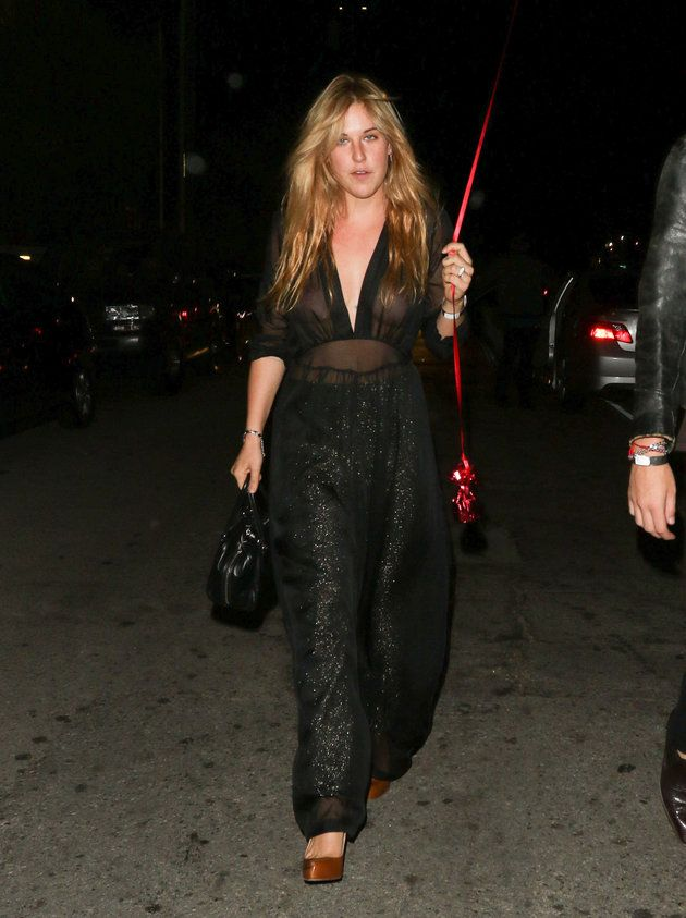 Scout Willis Goes Braless In Sheer Jumpsuit For Rihanna