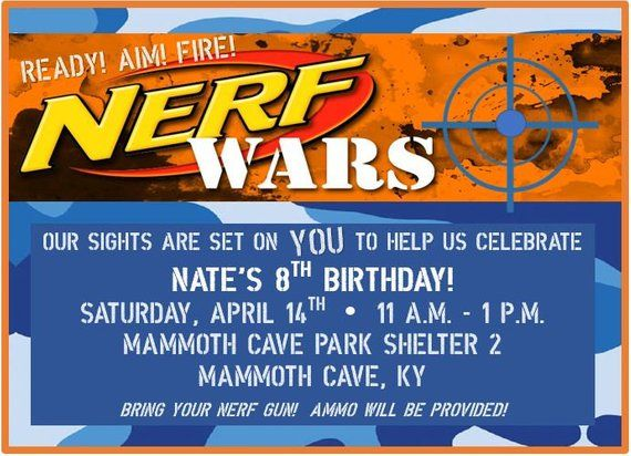Nerf Birthday Invitation Nerf Gun Party Dart Gun Bday Invite Blue