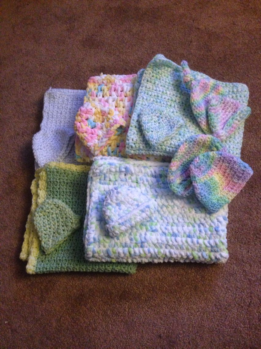 NICU baby blankets and hats