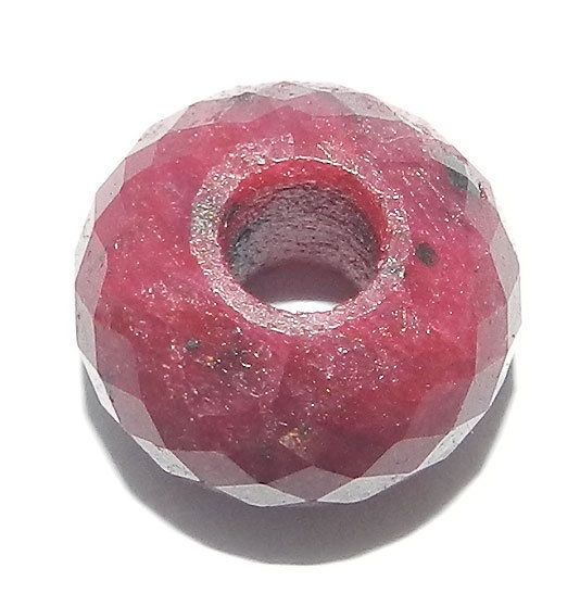 1 PC Ruby Corundum gemstone roundel facet big hole bead,charm beads for bracelet #magicalcollection #Faceted #Beads #HoleBeads #Jewelrygemstone