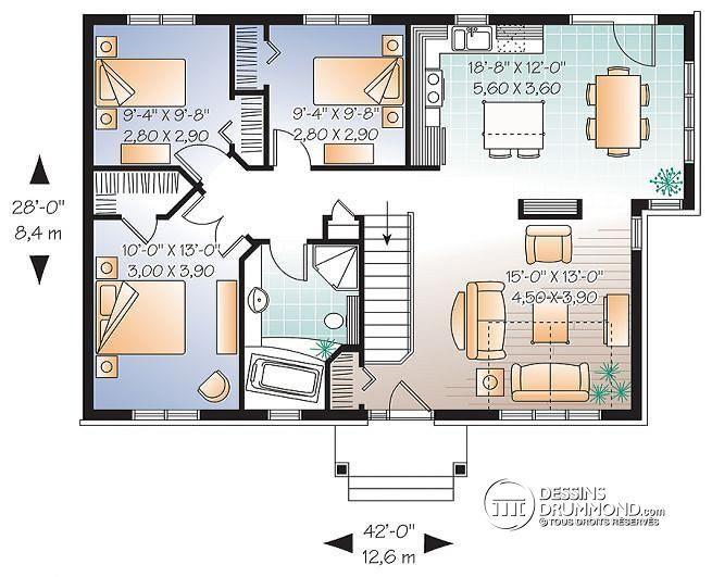 plan maison plain pied champetre