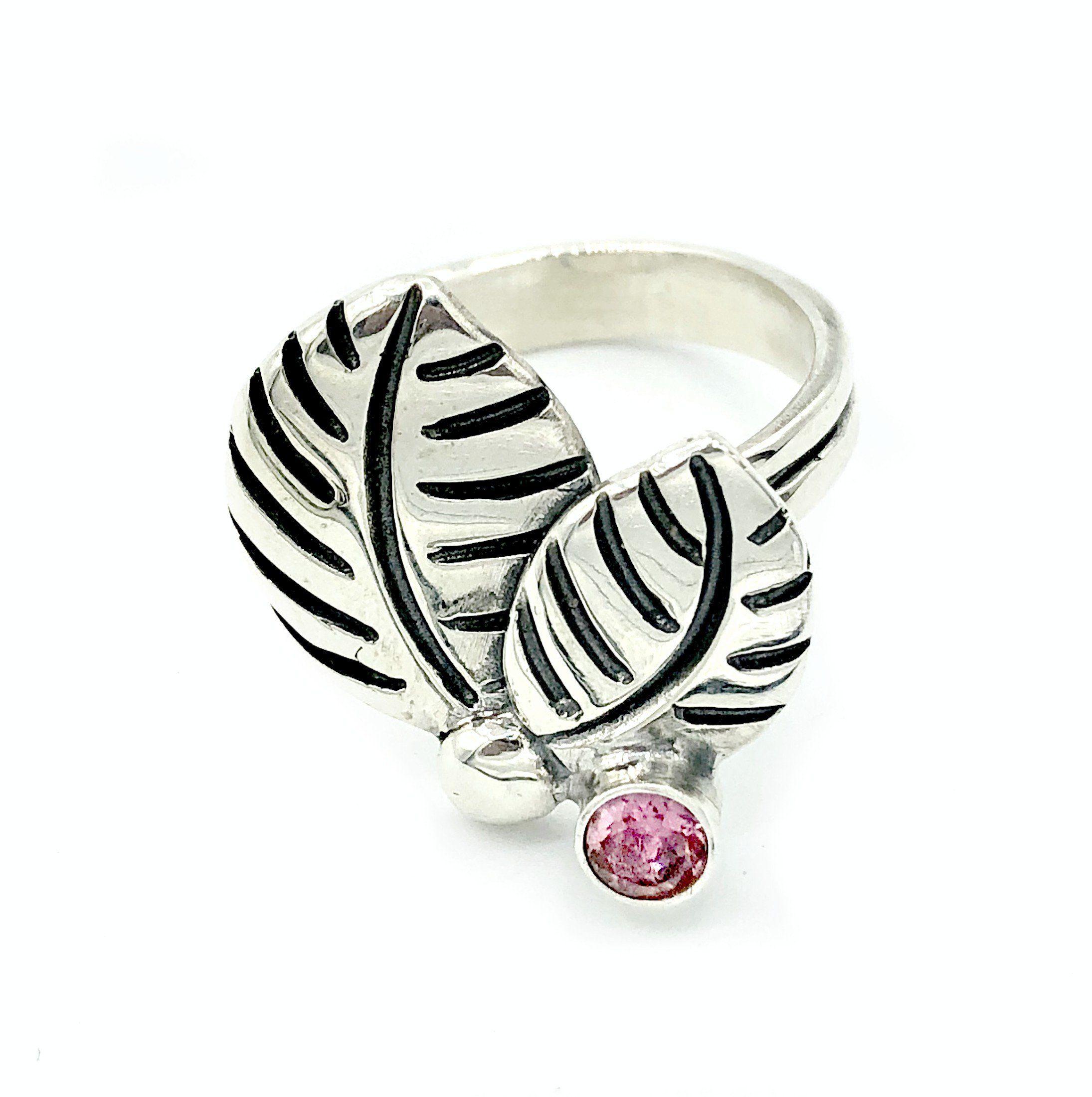 leaves ring pink tourmaline silver ring pink tourmaline adjustable Autumn Leaf Ring leaves ring pink tourmaline silver ring pink tourmaline adjustable silver ring