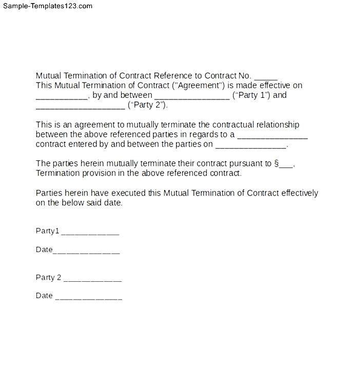 Termination Contract Letter Breaking Lease Agreement And Early
