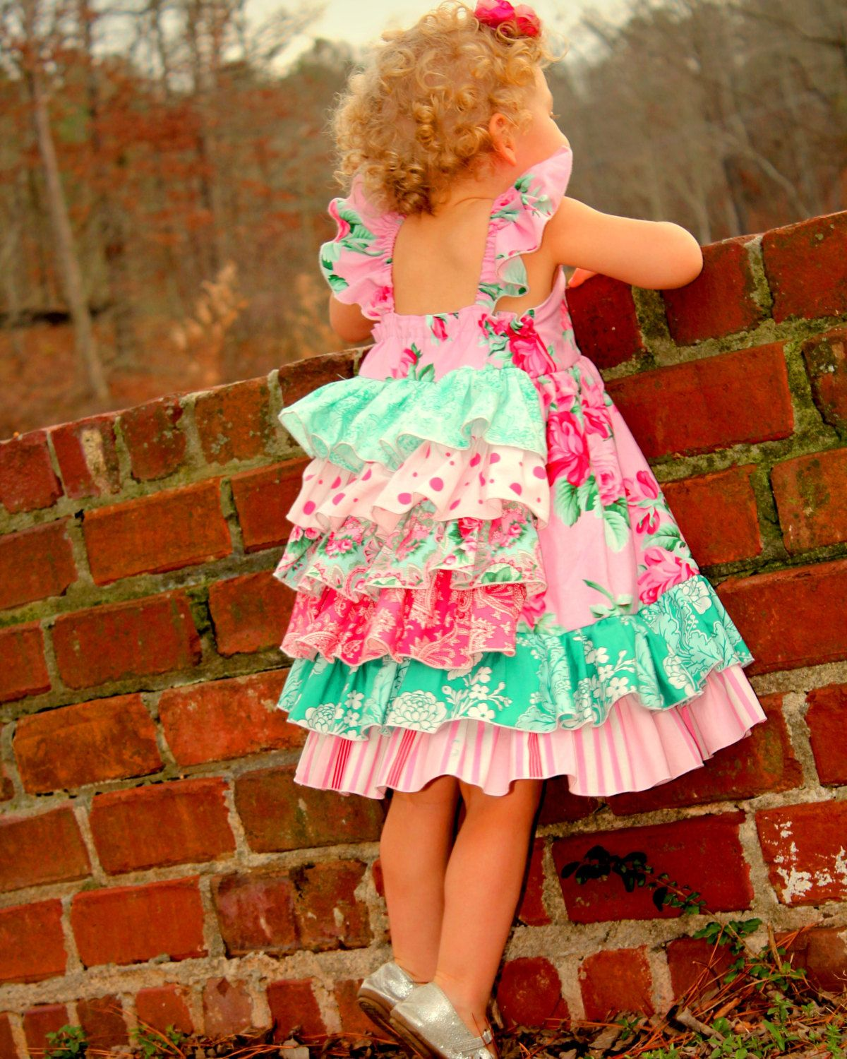 Girls pink and green easter ruffle dress sizes by