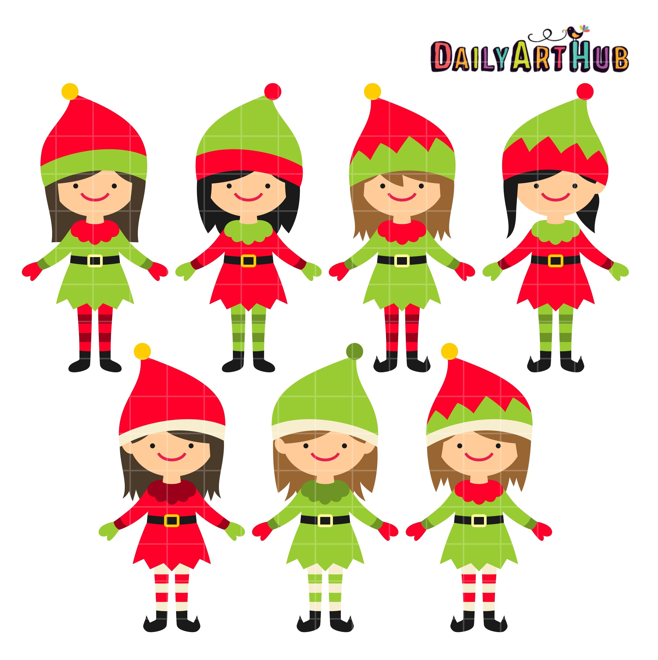 Christmas Elves Clipart Free.Christmas Cute Elves Clip Art Set Clip Art Art Hub