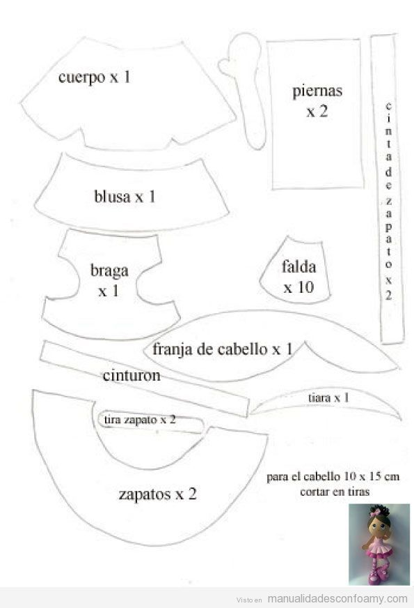 Molde de Muñeca de foamy, fofucha bailarina ballet   moldes ...