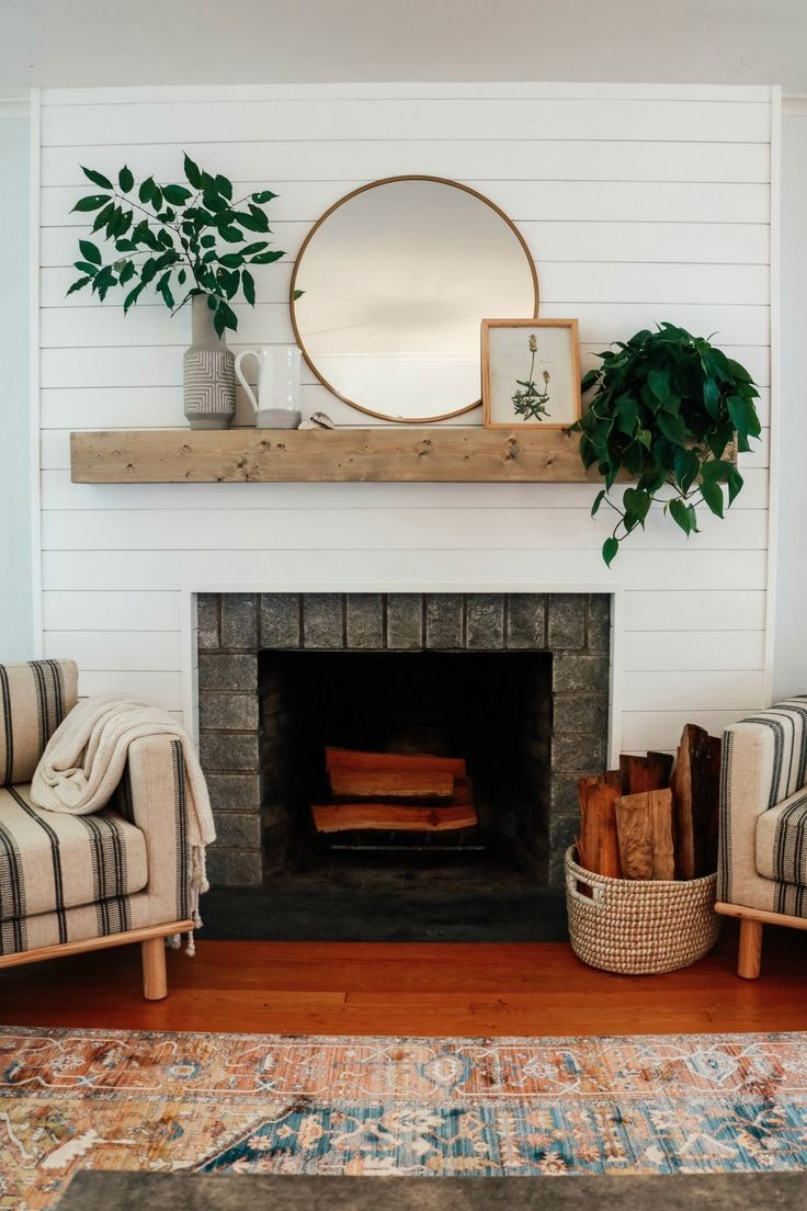 Photo of Shiplap Fireplace and DIY Mantle (Ditched the Old Traditional