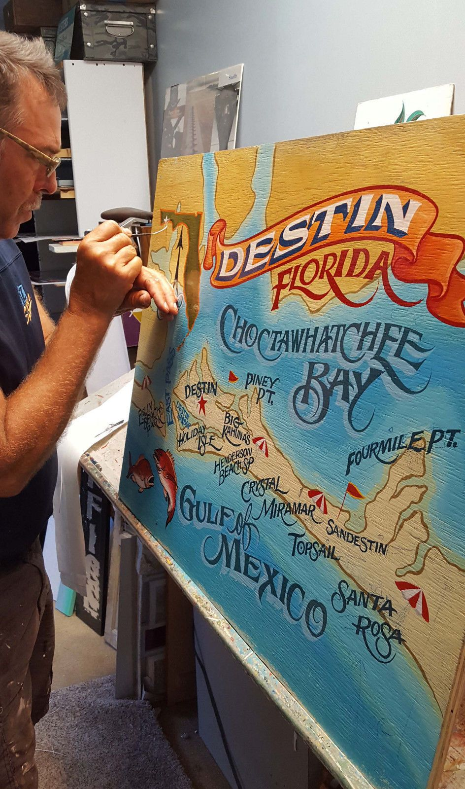 Destin florida sign handpainted and lettered great decor