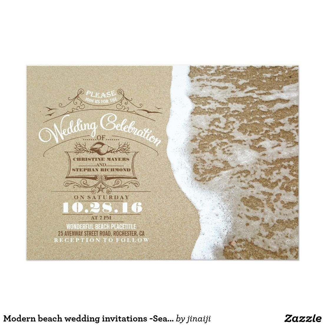 Modern beach wedding invitations -Sea Foam Sand | Modern, Beaches ...
