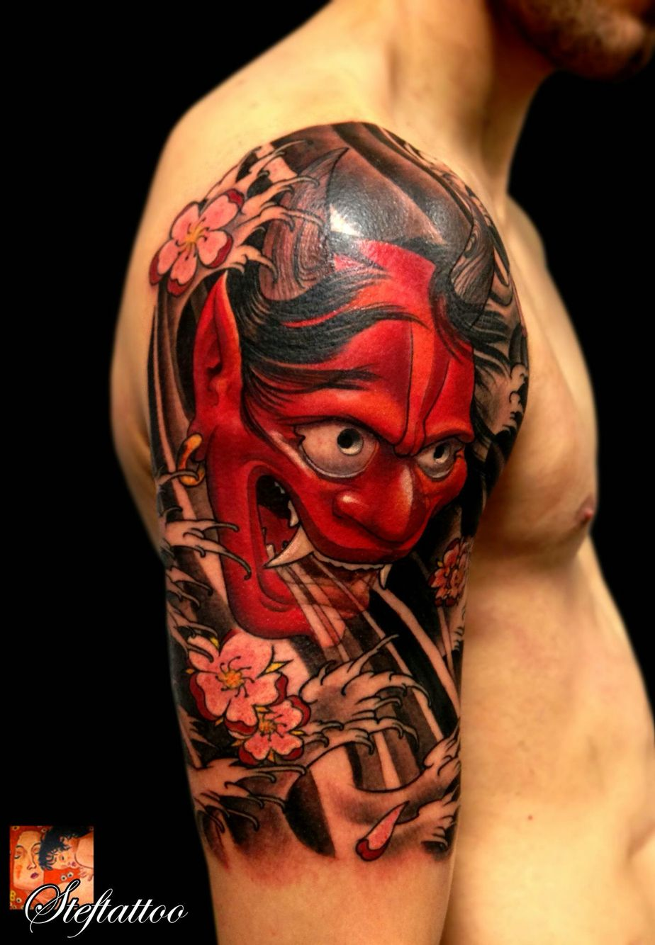 Oni Mask Tattoo: Japanese Tattoo Designs, Japanese Leg Tattoo