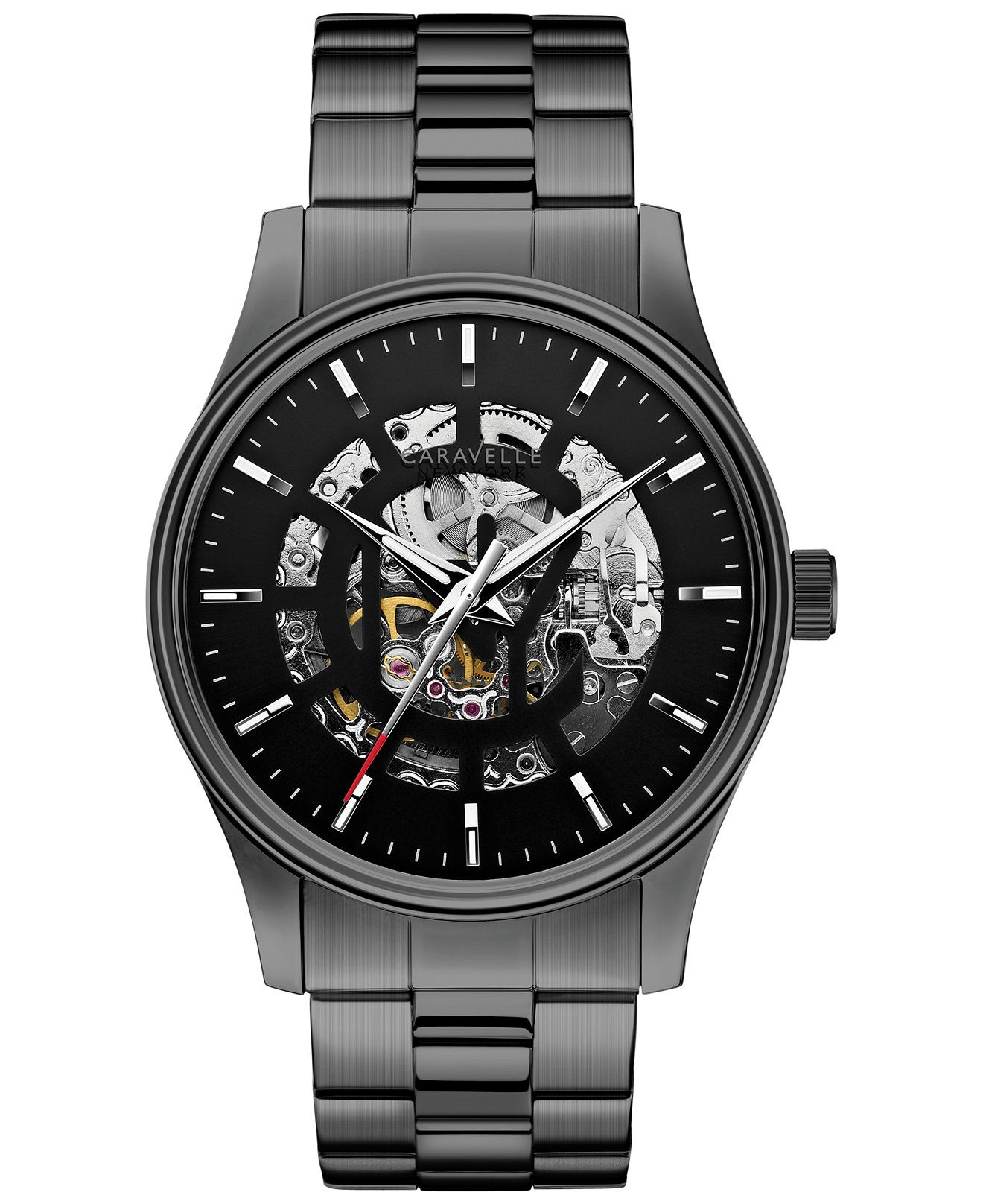caravelle new york by bulova men s automatic gunmetal tone caravelle new york by bulova men s automatic gunmetal tone stainless steel bracelet watch 42mm 155