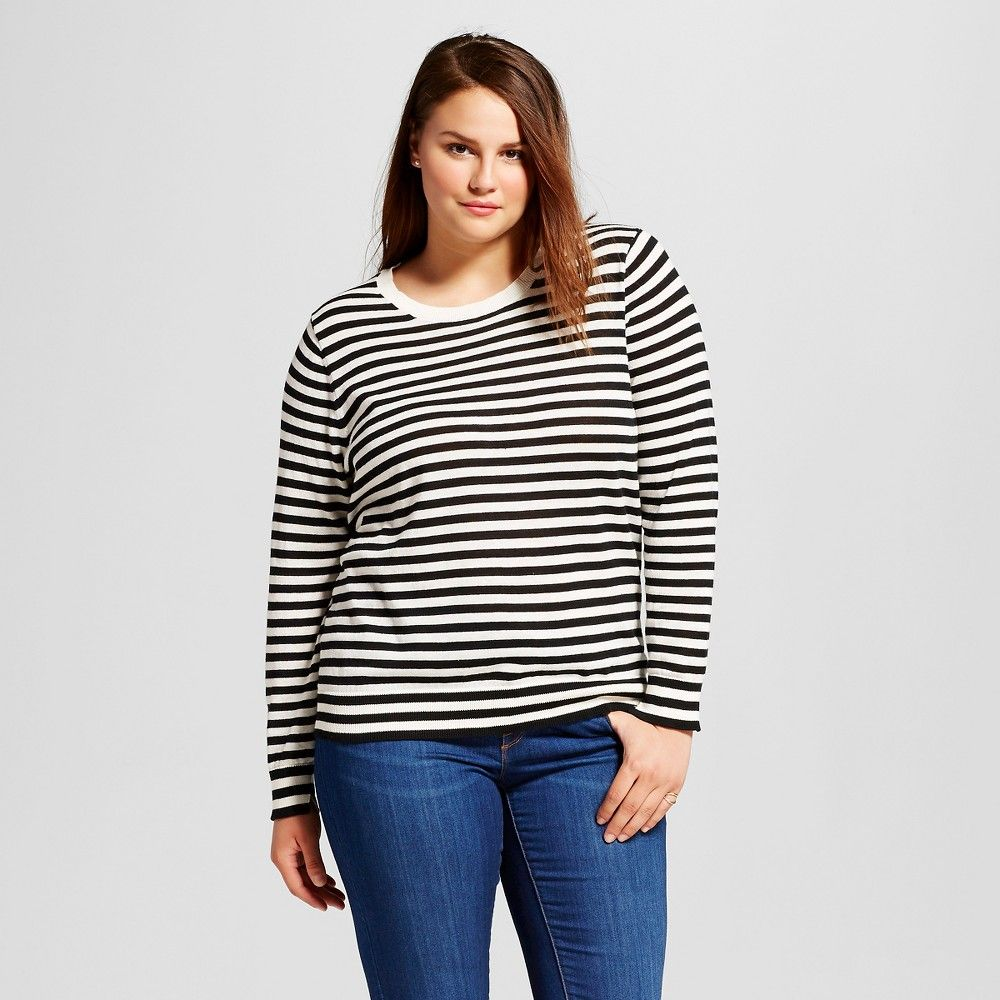 1d47a952878a4 Women s Plus Size Perfect Crew Ebony Cream Stripe 1X - Who What Wear ...