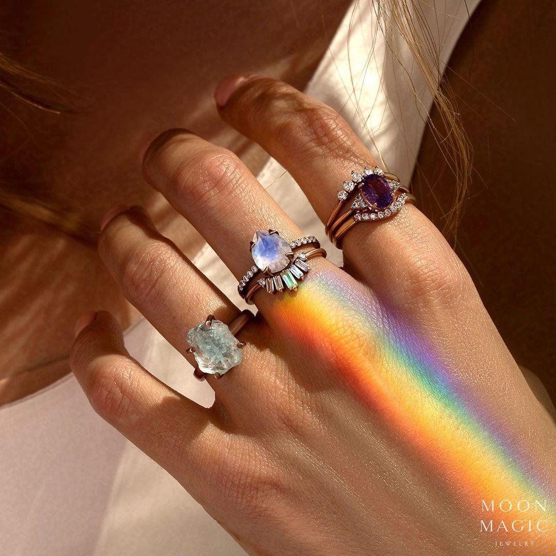 amethyst /& orange quartz rings