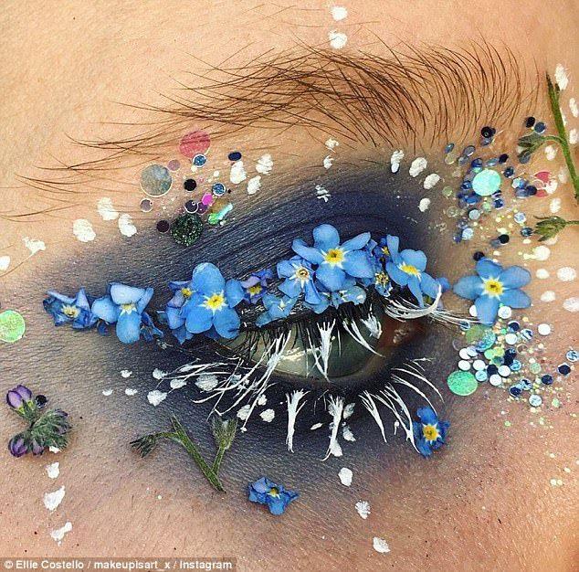 Die Visagistin bedeckt ihre Augen mit ECHTEN Blumen und es ist unglaublich