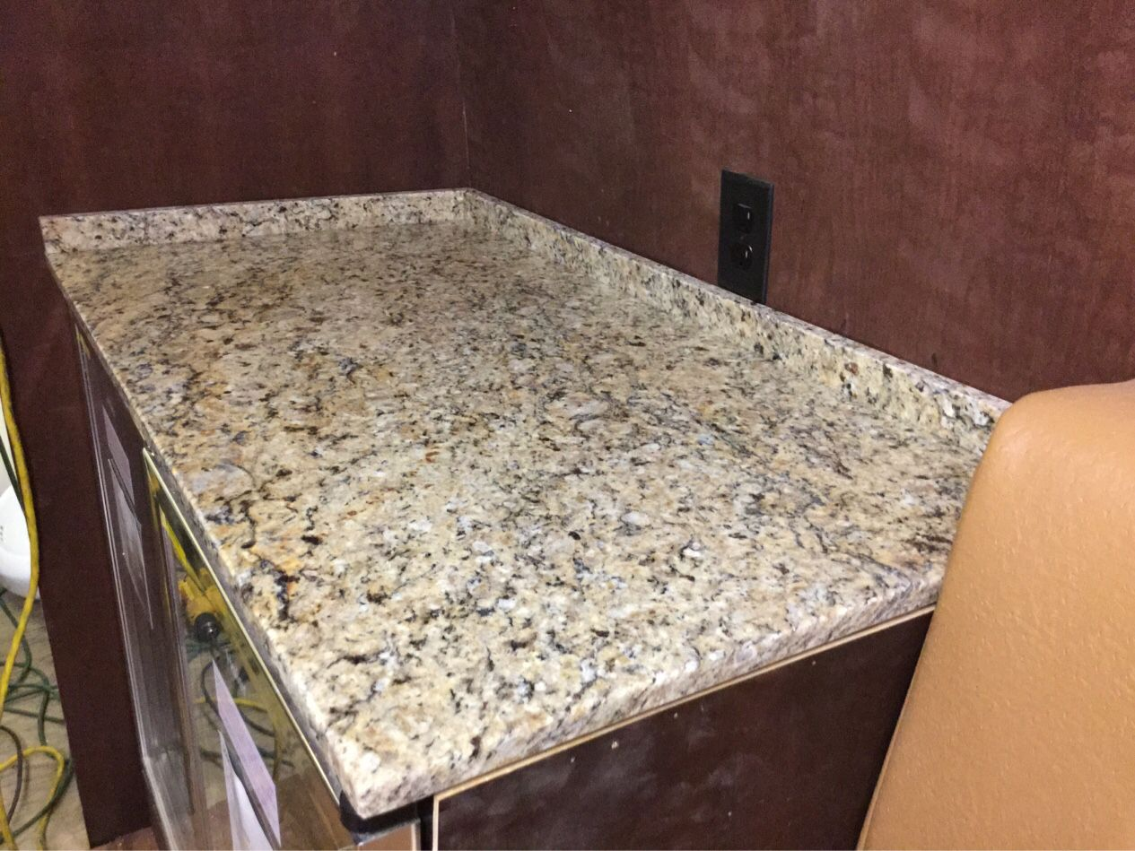 Custom Granite Buffet Countertop In The Renovated Mobile Event Lounge In New Orleans Custom Granite Granite Countertops Granite