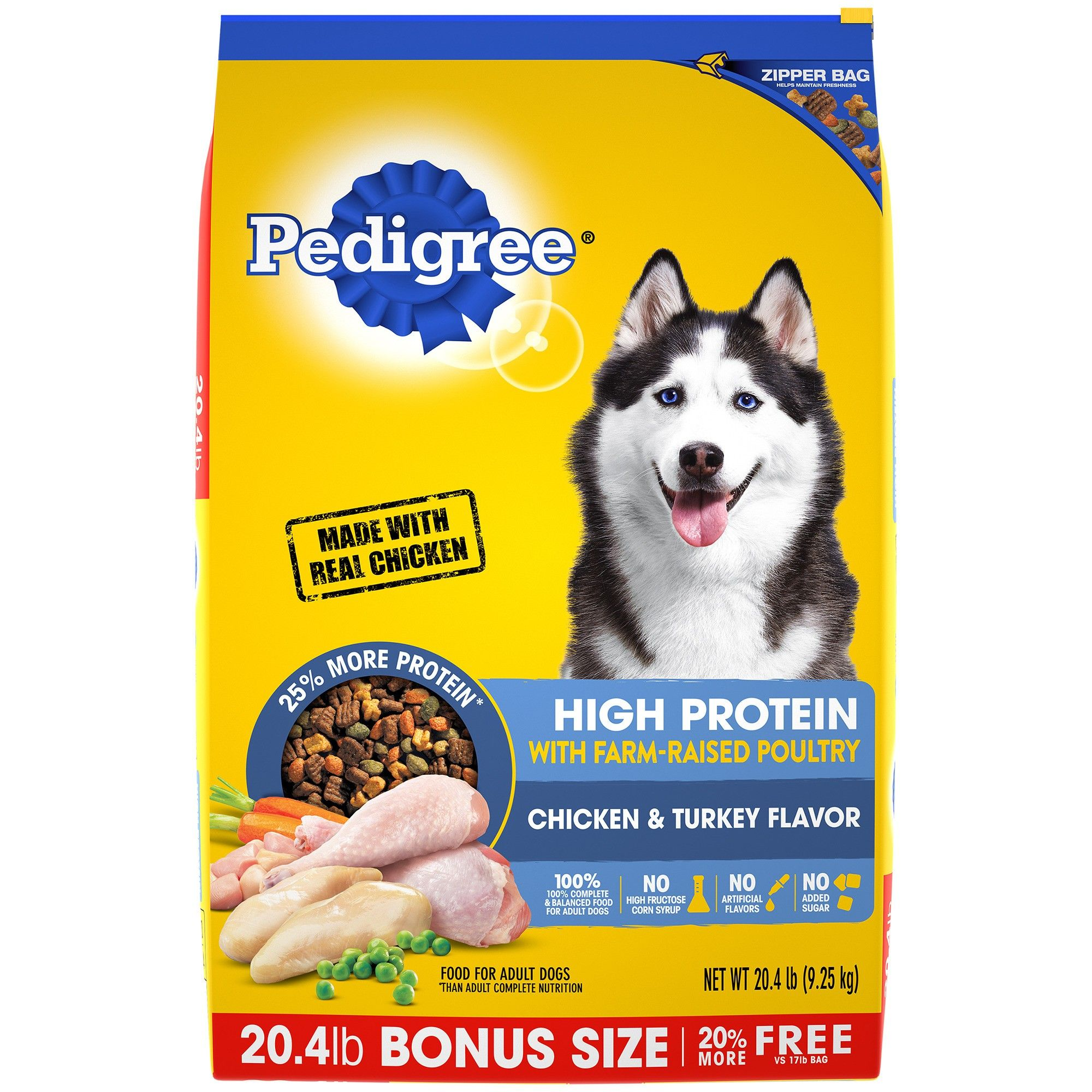 Pedigree High Protein Chicken Turkey Dry Dog Food 20 4lb In
