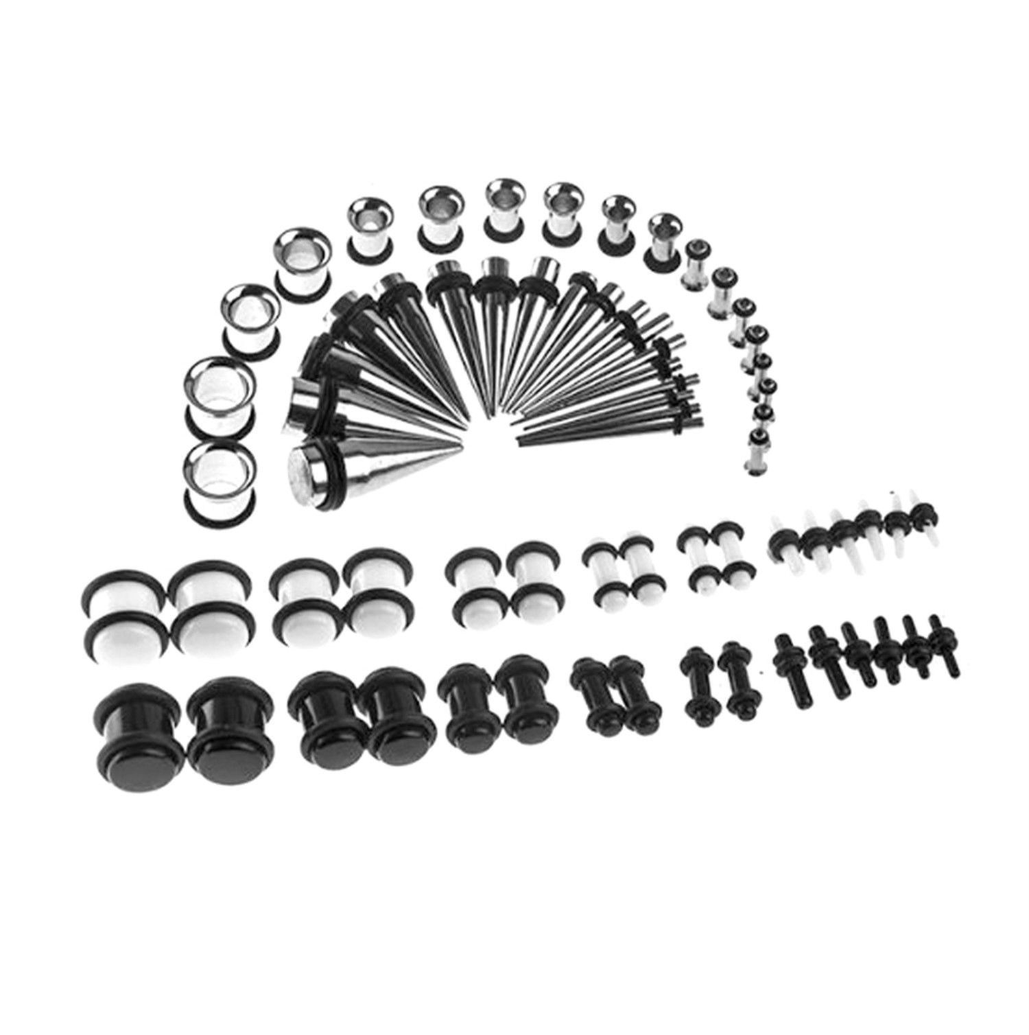 Bodyj4you Gauges Kit 72 Piece Stainless Steel Taper