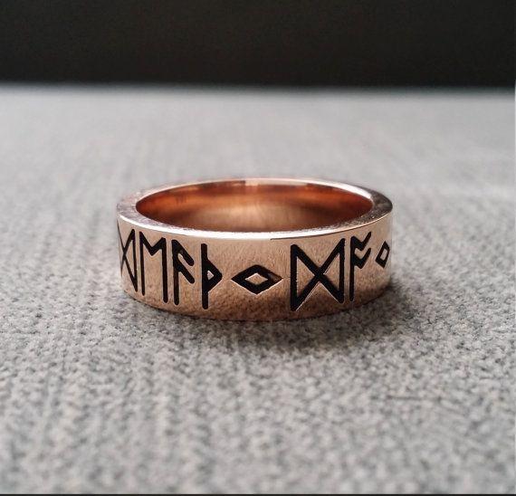 Viking Bands: Rustic Mens Wedding Band Ring Nordic Runes Till Death Do